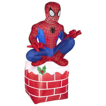 Gemmy Industries Airblown Inflatables Christmas Holiday Spider Man on Chimney Decoration