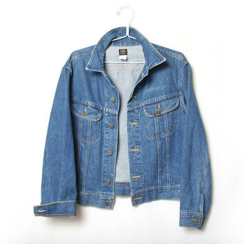 Vintage 70s Mens Lee Denim Jacket - Medium - Lee Jean Jacket - Boyfriend Jacket
