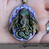 Cthulhu, Tentacles, SteamPunk, Art Nouveau, Silver, Metallic, Polymer Clay, Pendant, Monster Necklace, Purple, Green, Ocean,