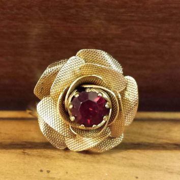 Vintage Sarah Coventry Blooming Rose Ring, Red Rhinestone, Signed SARAH COV
