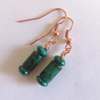 Azurite Chrysocolla & Copper  Earrings, Column Bead, Health Accessory, Calming Jewelry, Energy Balance, Blue Green Shades, Southwestern, Zen