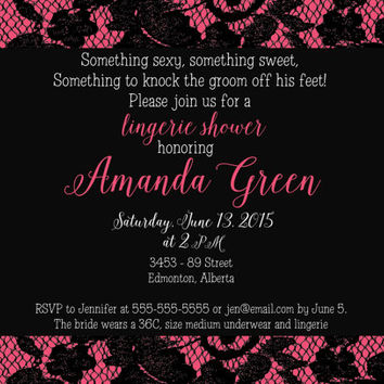 PRINTABLE classy lingerie bridal shower invitation - sexy sweet hot pink