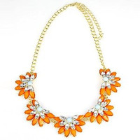 Shorouk Style Chunky necklace crystal lotus flower orange