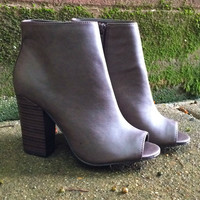Sedona Chunky Heel Peep Toe Bootie - Light Brown