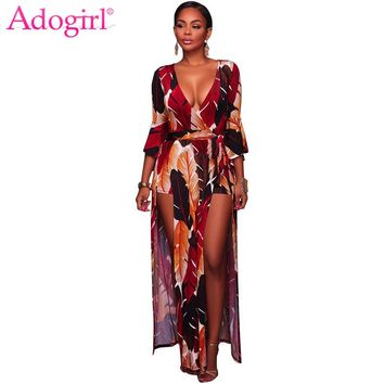 Adogirl 2018 New Feather Print Maxi Dress