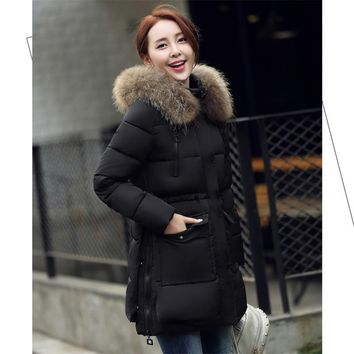 Winter Jacket Women Real Fur Hood Coat 2016 Big Raccoon Fur Collar Casual Long Warm Winter coat women down Parka