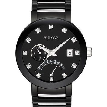 Bulova Men's Dual Time Diamond Dress Watch - Black & Silver-Tone - Date