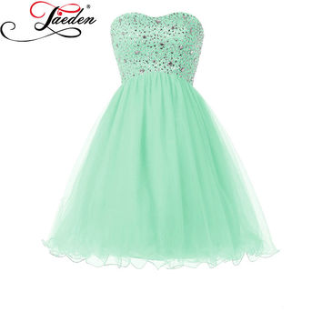 JAEDEN Mint Green Mini Cocktail Party Dresses Beads Crystals Sleeveless Off the Shoulder 2017 Sweetheart Neck Summer Dresses
