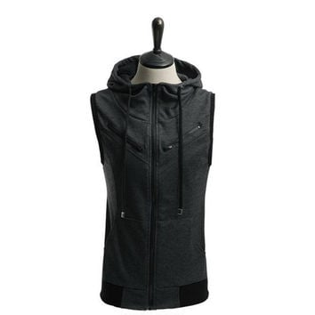 Men Sleeveless Hoodies Korean Slim Hats Jacket [6528702659]