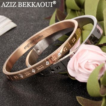 AZIZ BEKKAOUI Customize Named Couple Bracelets Stainless Steel Carving Roman Numeral Lover Cuff Bracelet Bangle Wedding Jewelry