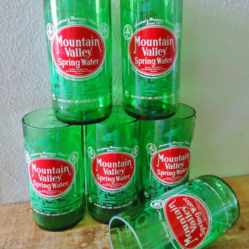 Drinking Glasses made from Recycled Mountain Valley Spring Water Bottles 24 oz Set of 6