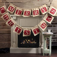 "Tinksky Christmas Burlap Quote ""Merry Christmas"""