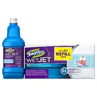 Swiffer WetJet Bundle Pack (WetJet Pad Refill 10ct & Multi – Purpose Cleaner Solution Open Window Fresh 1.25L)