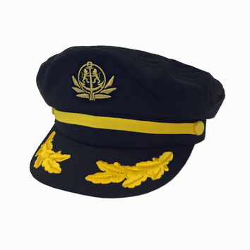 Captains Yacht Boater Hat (Black)