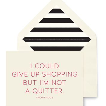 I Could Give Up Shopping Greeting Card, Single Folded Card or Boxed Set of 8