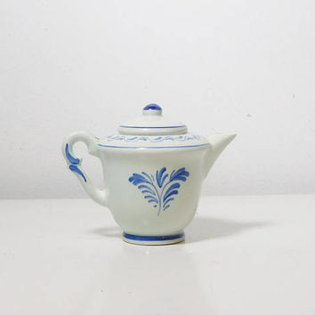 Miniature Delft Tea Pot with Lid Hand Painted Windmill Scene Made in Holland Souvenir Gift Cobalt Blue White No chips cracks or repairs