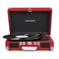 Crosley Cruiser Deluxe Retro Turntable with Bluetooth CR8005D - It's Portable! - Red