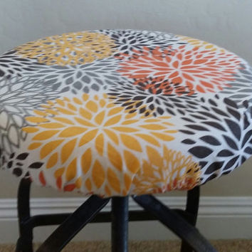 Elasticized round barstool cover seat cover counter stool cover floral print gray & Shop Stool Covers Round on Wanelo islam-shia.org