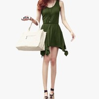 Ladies Stretchy Waist Pleated Irregular Hem Summer Mini Dress Olive Green XS