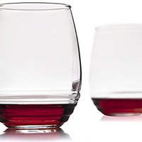 Set of 4 - All Purpose Stemless Wine Glasses -17 Ounce - For Red Wine or White Wine - Eco Friendly Made Glass