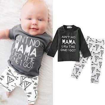 2018 Newborn Toddler Baby Boys Outfits Clothes Cute Long Sleeves T-shirt  Arrows Pants 2PCS Set 0-24M