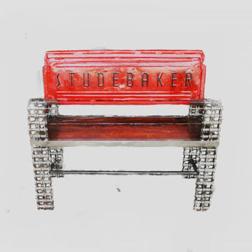 Studebaker Tailgate Bench Made with Chain Custom Welded Metal Minimalist Furniture, Upcycled Recycled Repurposed by Recycled Salvage
