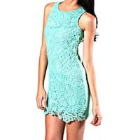 Ya Los Angeles Gorgeous Mint Green Sleeveless Dress with Crocheted Detailing - Large