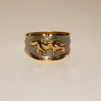 14k Yellow Gold & White Gold Raised Panther Or Leopard Ring.