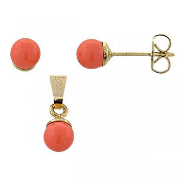 Gold Layered 10.63.0411 Earring and Pendant Adult Set, Ball Design, with  Pearl, Gold Tone