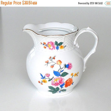 SALE Antique Czechoslovakian Pitcher, Count Thun White Porcelain Milk Pitcher, Multicolor Floral Transferware Pitcher, c1920s.