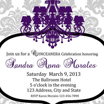 Modern Quinceanera Printable Invitation 5x7 Digital File Sweet 15 - Sweet 16 Invite