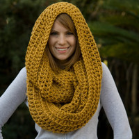 Infinity Scarf, Mustard Yellow Crochet Oversized Scarf, Hooded Scarf, Chunky Cowl, Wool