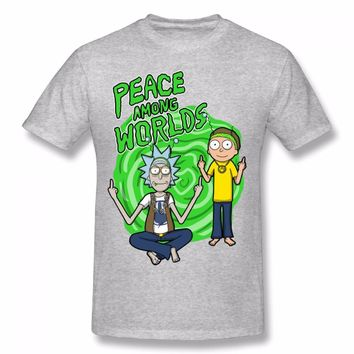 2017 Summer New Anime Cool Rick Morty Print Men T Shirt Peace Among Worlds Folk T-Shirt 100% Cotton Casual Funny Short Tops Tees