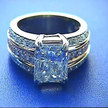 3.90ct Radiant Cut Diamond Engagement Ring 18t JEWELFORME BLUE GIA certified