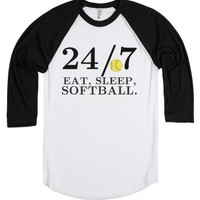 24/7 Eat, Sleep, Softball tee t shirt-Unisex White/Black T-Shirt