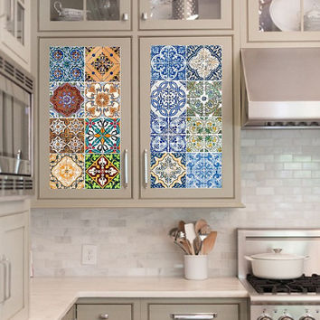 Vinyl decal sheet - Tile Decals - Tile decals for Kitchen or Bathroom Mexico, Morocco, Portugal, Spain, Mosaic #7