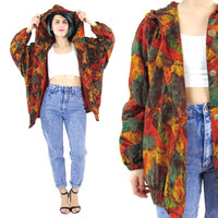 Vintage Bomber Jacket 80s 90s Abstract Print Hooded Bomber Jacket Long Sleeve Watercolor Slouchy Jacket Buttons Plus Size Windbreaker (L/XL)