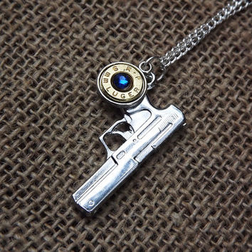 9mm pistol necklace- bullet jewelry, gun necklace, country wedding gift, brass bullet casing,redneck style, military police gift, girls