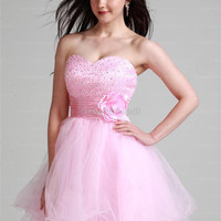 A-line Sweetheart Tulle Short/Mini Pink Flowers Homecoming Dress at dressestore.co.uk
