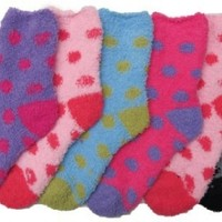 Kids Super Soft Fuzzy Socks, Polka Dots, 6 Pair, Size 6-8