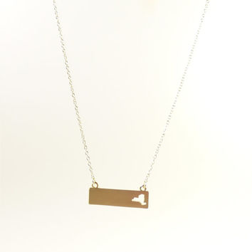 New York necklace, Gold State map Necklace,gift idea,horizontal bar necklace,I heart New York necklace/NY necklace