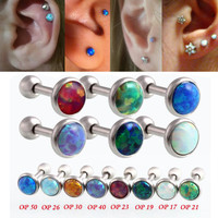 Hot Opal Ear Cartilage Piercing G23 Titanium 9 Color Choice 16 Gauge 1.2x6x3/4/5mm Ball Ear Cartilage Piercing Jewelry Earrings