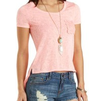 Crochet Pocket High-Low Tee by Charlotte Russe