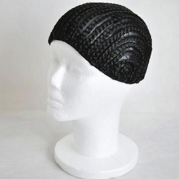 Black Crochet Synthetic Braids Wig Cap For Making Wigs With Combs Glueless Weaving Wig Lace Caps Size S/M/L