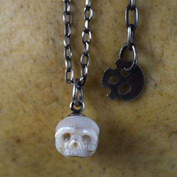 READY TO SHIP - Hand Carved Pearl Skull Necklace With Sterling Silver Skull Charm - Pearl Necklace - Unique Gift - Mother's Day - Birthday
