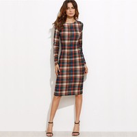 Multicolor Plaid Long Sleeve Knee Length Pencil Elegant Dress