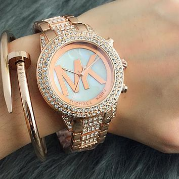 MK Hot Sale Vintage Fashion Classic Watch Round Ladies Women Men wristwatch On Sales 3-Color Rose gold silver G-Fushida-8899
