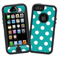 "White Polka Dot on Turquoise ""Protective Decal Skin"" for Otterbox Defender iPhone 5 Case"