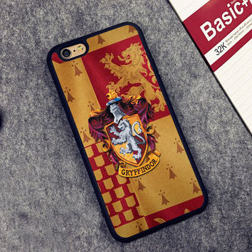 House Gryffindor Crest Harry Potter Printed Soft TPU Shell Skin Phone Case For iPhone 6 6S Plus 7 7 Plus 5 5S 5C SE 4 Back Cover