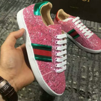 GUCCI Fashion new stripe more sequin women and men high quality shoes Pink